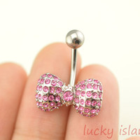 pink bow belly button rings,cute bow bellybutton jewelry,navel ring,sweet body piercing,friendship bellyring