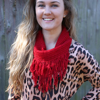 Fringe Infinity Scarf - Red