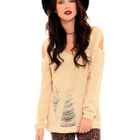 GYPSY WARRIOR - Open Shoulder Shred Knit