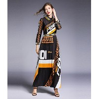 FENDI Newest Fashion Women Print Long Sleeve Lapel Pleated Shirt Dress Black