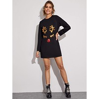 Contrast Christmas Deer Sequin Tee Dress
