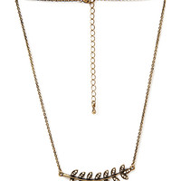 FOREVER 21 Wreath Pendant Necklace Burnished Gold One