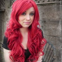 20% OFF SALE Cherry Red / Long Curly Layered Wig Mermaid Hair Lolita
