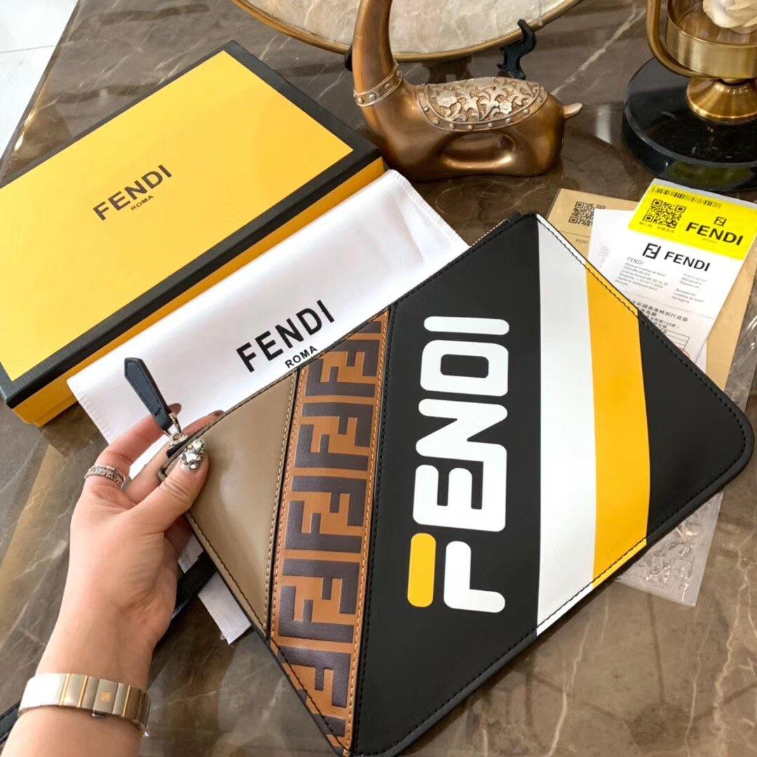 Image of FENDI Striped Leather Pouch