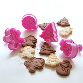 Christmas DIY Bakeware 1~4pcs/set to choose Cookie Cutter Set Chocolate Cake Fandant Decorating Candy, Resin Clay Biscuit Mold