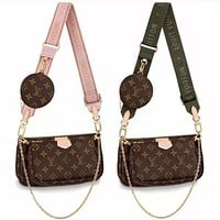 LV Louis Vuitton Fashion Women's Shoulder Bag Mahjong Bag Three-piece Set