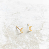 Seoul Little 24K Gold Plated Moon Post Earring - Urban Outfitters