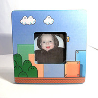 """Super Mario Brothers Background Turquoise Wooden Photo Frame - 3.75"""" x 3.75"""" Opening - Nintendo"""