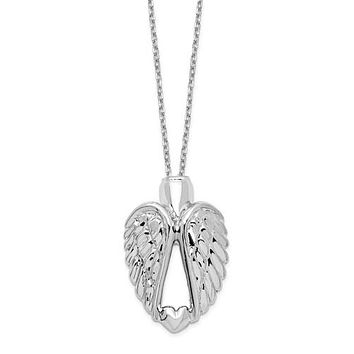 """Sterling Silver Angel Wings Ash Holder 18"""" Necklace"""