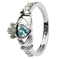 Ladies Birthstone Silver Claddagh Ring LS-SL90-3