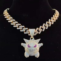 Men's Gengar Pendant Iced Out Bling Necklace