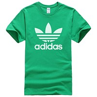 Adidas New fashion letter leaf print couple top t-shirt Green
