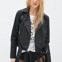Belted Faux Leather Jacket