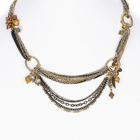 NECKLACE / LINK / BRASS / BURNISH / GLASS BEAD / CRYSTAL STONE / FLOWER / MULTISTRANED / PREMIUM COLLECTION / 1 1/4 INCH DROP / 16 INCH LONG / NICKEL AND LEAD COMPLIANT