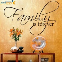 Family Is Forever home decor creative quote wall decal ZooYoo8068 decorative adesivo de parede removable vinyl wall sticker