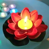 10 pcs Chinese lotus floating river lanterns on festival, romantic wedding party outdoor water pool lantern/ artificial flower candle holder