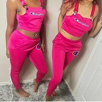 Champion Fashionable Women Sexy Embroidery Sleeveless Top Pants Set Two-Piece Sportswear