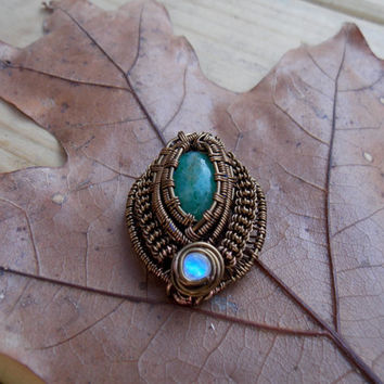 Wire Wrapped Pendant with Green Aventurine and Moonstone