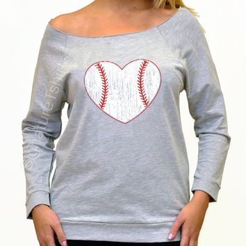Womens Off shoulder - Baseball Heart Shirt -  Mothers Day gift Idea -  Baseball Heart Raglan Sweater - graphic tshirt game sport tee shirt