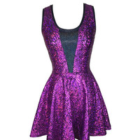 Purple Leaf Inset Skater fit n flare Dress - Club, Rave, Sexy Mini Dress, Cocktail, Festival Outfit