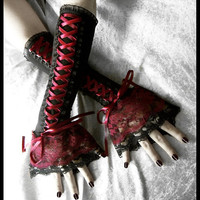 Blood and Wine Corset Laced Up Arm Warmers - Black - Burgundy / Dark Red Ribbon & Lace - Gothic Lolita EGL Rococo Wedding Emo Goth Fusion