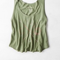 AEO Women's Cropped Graphic Muscle Tank (Olive)