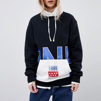 Converse Exclusive One Star Boyfriend Fit Hoodie In Black With Logo at asos.com
