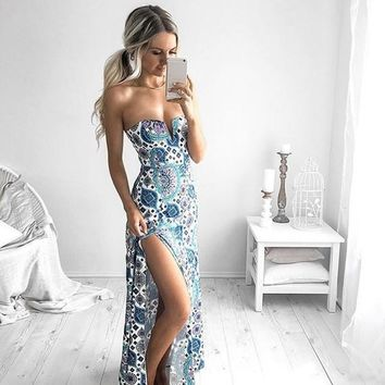 Slim Elegant Sexy Party Off Shoulder Maxi Long Split Wrapped Chest  Print Dress = 5710288897