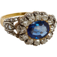 Olivia Collings Antique Jewelry Sapphire & Diamond Open Set Cluster Ring at Barneys.com