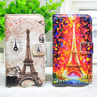 Fashion Oil Painting Eiffel Tower purpse Cover case Wallet For Iphone 4/4s