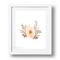 Watercolor floral wall art printable Blush rose print Large Rustic flower home decor Coral Brown Nursery Print DOWNLOAD 5x7 8x10 11x14 16x20