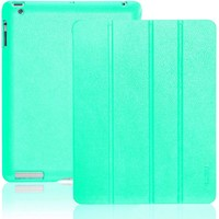 INVELLOP Turquoise / Teal Leatherette Cover Case for iPad 2 / iPad 3 / iPad 4 (Built-in magnet for sleep/wake feature) iPad 2 case