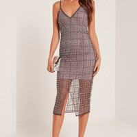 Missguided - Premium Grid Embellished Midi Dress Purple