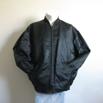 Vintage 1980s Satin Jacket Black Sport Varsity 80s Nylon Light Coat XL