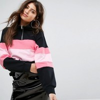PrettyLittleThing Zip Collar Stripe Top at asos.com