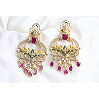 Contemporary Designer Polki Earrings