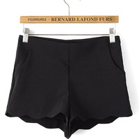 Black Scallop Hem Shorts