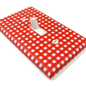 Red Gingham Nursery Decor Light Switch Cover Boys Bedroom Switchplate Outlet 1197