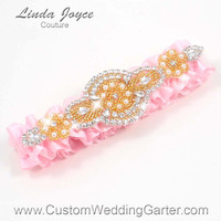 Pink and Gold Vintage Wedding Garter Bridal Rhinestone 145 Light Pink Custom Luxury Prom Garter Plus Size & Queen Size Available