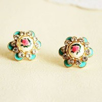 Fashion Gorgeous Hand-painted Rose Rhinestone Stud Earrings