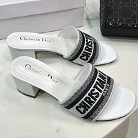 DIOR Summer Fashion Women Casual Print Sandals High Heels Shoes White 5.5 CM