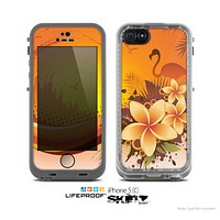 The Coral Colored Floral Pelical Skin for the Apple iPhone 5c LifeProof Case