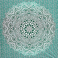 Fairdecor Green Ombre With Leaf Double Shaded Mandala Tapestries,Hippie Mandala Tapestry wall hanging Ombre mandala tapestries boho bohemian Queen bedding throw bedspread beach sheet ethnic