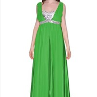 Women's V-neck Chiffon Homecoming Long Ball Gown Evening Prom Dress
