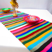 Mexican Table Runner, Authentic Serape Fabric table cloth from Mexico multi color bohemian decorations stripetable Linen, Aztec. tribal,
