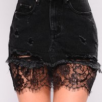 Miami Days Denim Skirt - Black