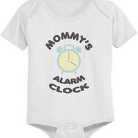 Mommy's Alarm Clock Baby Bodysuit - Pre-Shrunk Cotton Snap-On Style Baby Onesuit