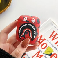New Shark Mouth Camo Protective Airpod Case - Red