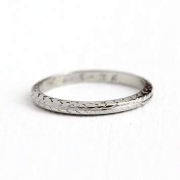 Wheat Design Band - Antique Art Deco 18k White Gold Ring - Dated 1926 Size 7 Vintage 1920s Vine Wheat Fine Bridal Floral Nature Jewelry