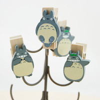 Totoro/ Wood Clip/ Paper Clip/ Memo Clip/ Clip/ wall decoration/ Book Clip/ Cute Stationary/ Accessory - Totoro Wood Clip set- 4pcs